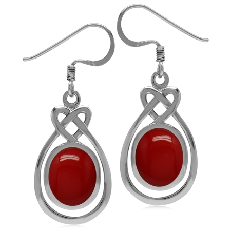 10x8MM Created Oval Shape Red Coral 925 Sterling Silver Celtic Heart Knot Dangle Hook Earrings