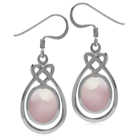 10x8MM Oval Shape Pink Mother Of Pearl Inlay 925 Sterling Silver Celtic Heart Knot Dangle Earrings