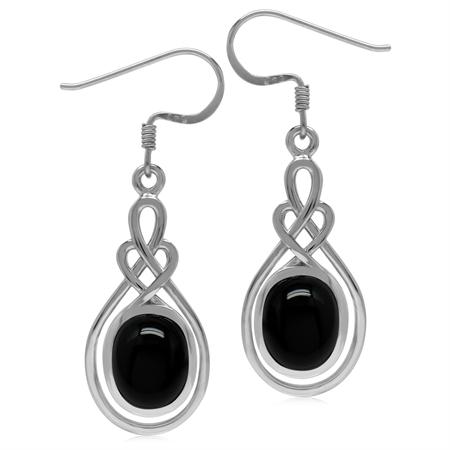 10x8MM Genuine Oval Shape Black Onyx 925 Sterling Silver Celtic Heart Knot Dangle Hook Earrings