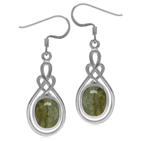 10x8MM Oval Shape Labradorite 925 Sterling Silver Celtic Heart Knot Dangle Hook Earrings