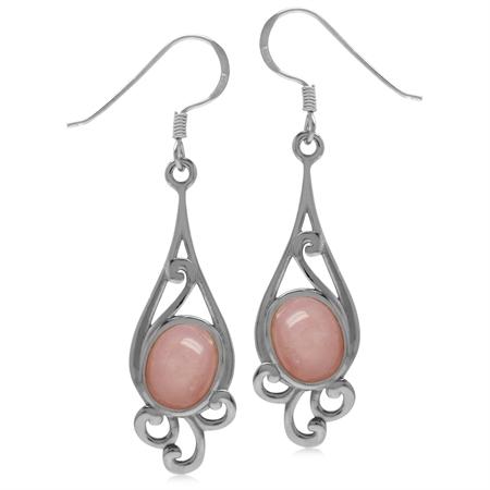 9x7MM Oval Shape Pink Opal 925 Sterling Silver Swirl Drop Dangle Hook Earrings