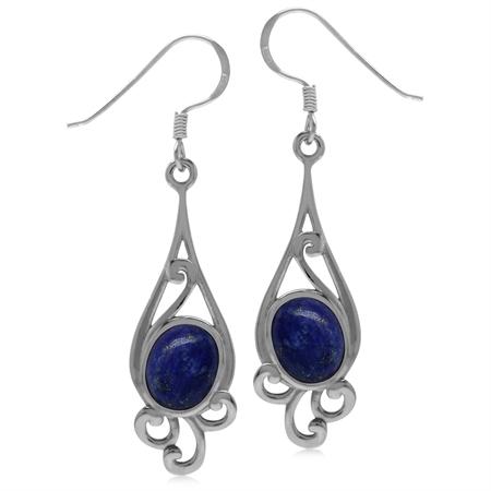 9x7MM Genuine Oval Shape Blue Lapis 925 Sterling Silver Swirl Drop Dangle Hook Earrings