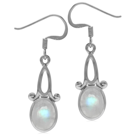9x7MM Natural Oval Shape Moonstone 925 Sterling Silver Swirl Casual Dangle Hook Earrings