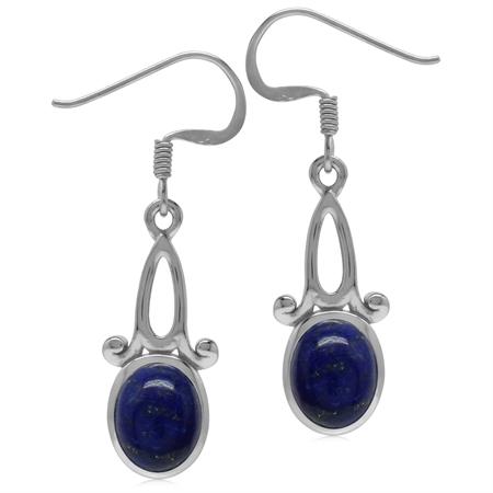 9x7MM Genuine Oval Shape Blue Lapis 925 Sterling Silver Swirl Casual Dangle Hook Earrings