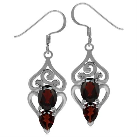 4.42ct. Natural Garnet 925 Sterling Silver Swirl & Spiral Dangle Hook Earrings