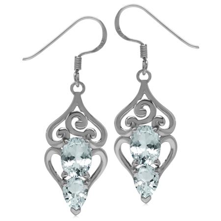 3.1ct. Genuine Blue Aquamarine 925 Sterling Silver Swirl & Spiral Dangle Hook Earrings