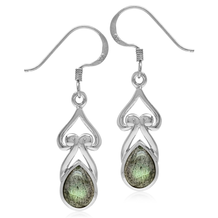 8x6MM Pear Shape Labradorite 925 Sterling Silver Heart Victorian Style Drop Dangle Earrings