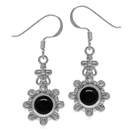 6MM Genuine Round Shape Black Onyx 925 Sterling Silver Flower Dangle Hook Earrings