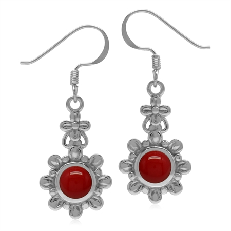 6MM Created Round Shape Red Coral 925 Sterling Silver Flower Dangle Hook Earrings