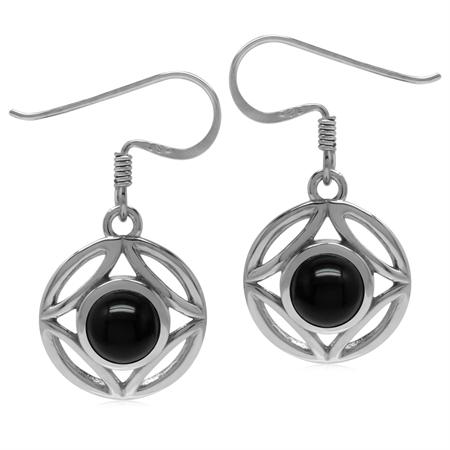 6MM Genuine Round Shape Black Onyx 925 Sterling Silver Filigree Dangle Hook Earrings