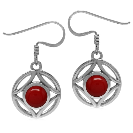 6MM Created Round Shape Red Coral 925 Sterling Silver Filigree Dangle Hook Earrings