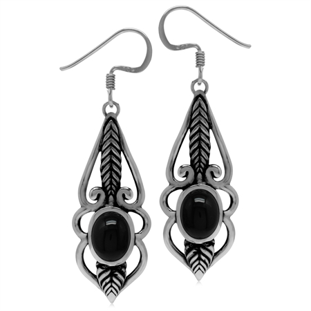 8x6MM Genuine Oval Shape Black Onyx 925 Sterling Silver Leaf Vintage Inspired Dangle Hook Earrings