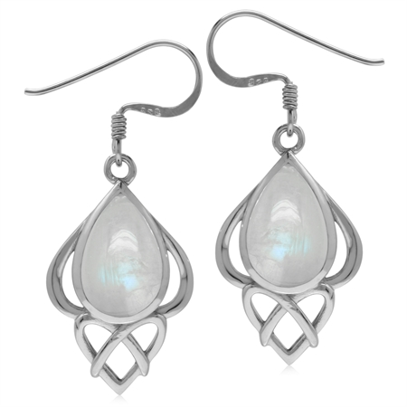 Genuine Rainbow Moonstone Sterling Silver Heart Knot Celtic Inspired Dangle Earrings