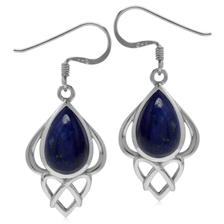 Genuine Blue Lapis Sterling Silver Heart Knot Celtic Inspired Dangle Earrings