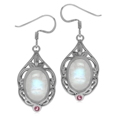 Genuine Moonstone & Tourmaline Sterling Silver Southwest Inspired Drop Dangle Earrings