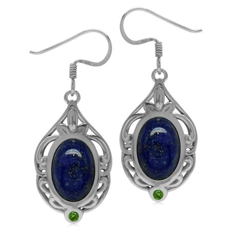 Lapis & Chrome Diopside Sterling Silver Southwest Inspired Drop Dangle Earrings