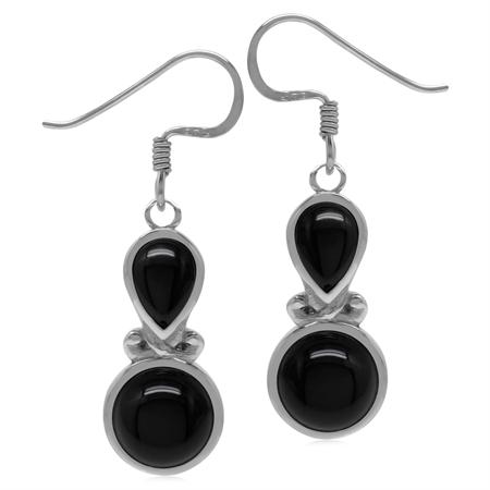 Genuine Black Onyx Sterling Silver Victorian Inspired Dangle Earrings