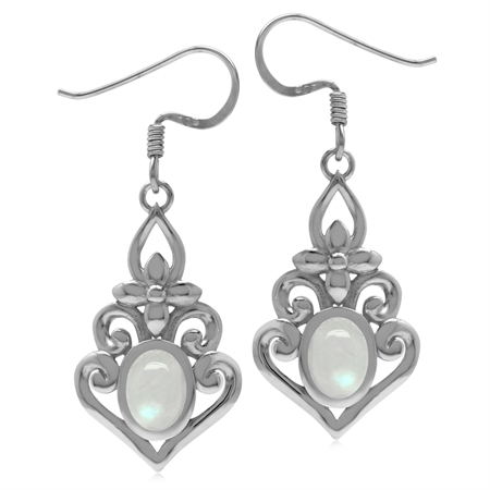 Genuine Rainbow Moonstone 925 Sterling Silver Victorian Inspired Chandelier Dangle Earrings