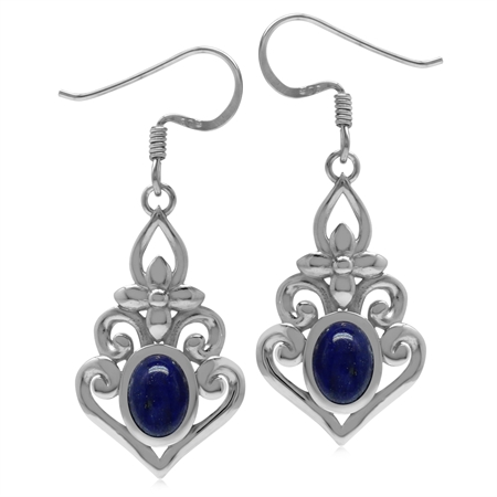 Genuine Blue Lapis 925 Sterling Silver Victorian Inspired Chandelier Dangle Earrings