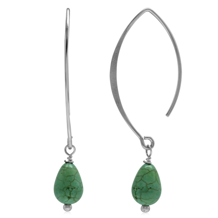 Green Turquoise 925 Sterling Silver Ear Wire Hook Dangle Earrings