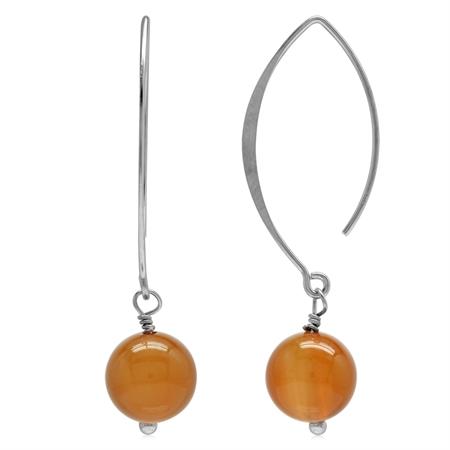 Genuine Orange Agate Bead Ball 925 Sterling Silver Ear Wire Hook Dangle Earrings
