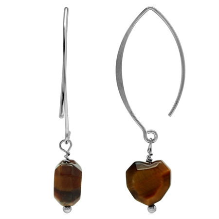 Genuine Tigers Eye Faceted Heart 925 Sterling Silver Ear Wire Hook Dangle Earrings