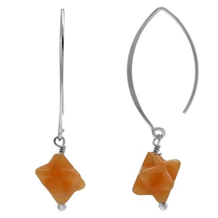 Genuine Fancy Shape Orange Agate 925 Sterling Silver Ear Wire Hook Dangle Earrings