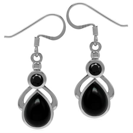 Genuine Black Onyx & Spinel 925 Sterling Silver Drop Dangle Earrings