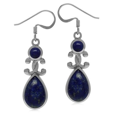 Genuine Blue Lapis 925 Sterling Silver Victorian Inspired Drop Dangle Earrings