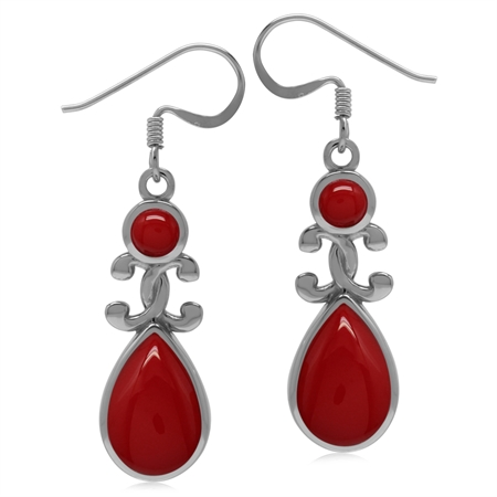 Created Red Coral 925 Sterling Silver Victorian Inspired Drop Dangle Earrings