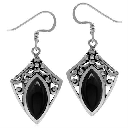 Genuine Onyx 925 Sterling Silver Filigree Shield Shape Drop Earrings