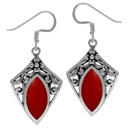 Created Red Coral 925 Sterling Silver Filigree Shield Shape Drop Earrings