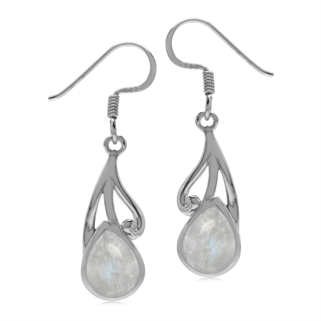 Natural 9x7 MM Rainbow Moonstone 925 Sterling Silver Contemporary Swirl Dangle Hook Earrings
