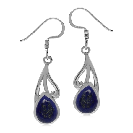 Natural 9x7 MM Lapis Lazuli 925 Sterling Silver Contemporary Swirl Dangle Hook Earrings