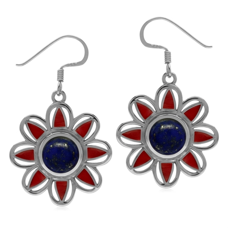 Genuine Lapis Lazuli & Created Coral 925 Sterling Silver Boho Flower Dangle Earrings