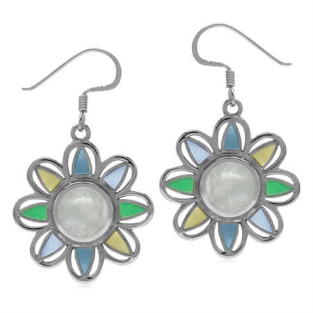 Rainbow Moonstone&Mother of pearl 925 Sterling Silver Boho Flower Dangle Earrings