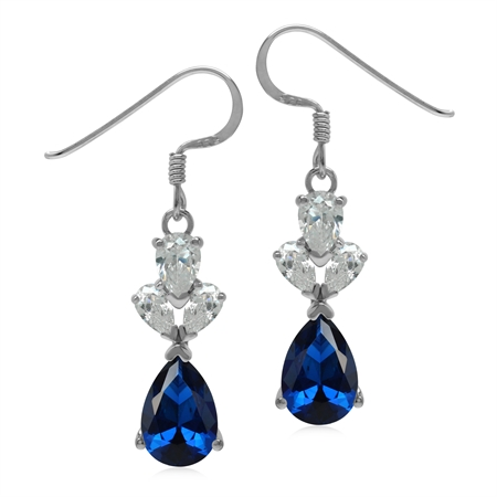 3.5 CT Synthetic or Created Blue Sapphire 925 Sterling Silver Evening Dangle Earrings