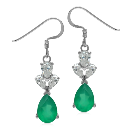 3.4 CT Genuine Emerald Green Agate 925 Sterling Silver Evening Dangle Earrings