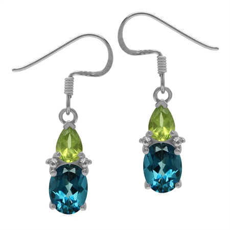 London Blue Topaz and Peridot 925 Sterling Silver Basic Gemstone Dangle Earrings