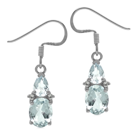 Genuine 2.7 CT Light Blue Aquamarine 925 Sterling Silver Basic Gemstone Dangle Earrings