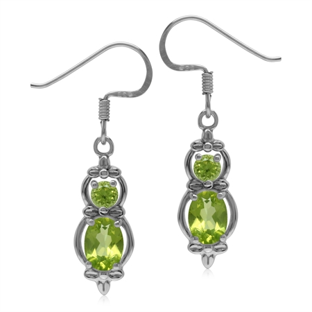 1.6 CT Natural Peridot 925 Sterling Silver Flower Dangle Hook Earrings