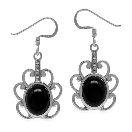 Natural Black Onyx 925 Sterling Silver Flower Inspired Earrings