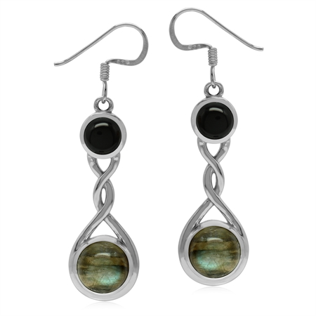 Natural Labradorite and Black Onyx 925 Sterling Silver Contemporary Twist Earrings