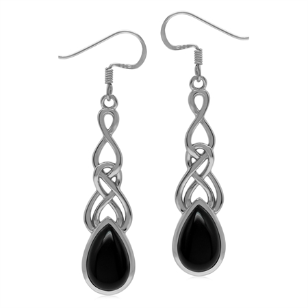 Natural Black Onyx 925 Sterling Silver Celtic Weave Knot Dangle Earrings