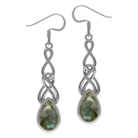 Natural Labradorite 925 Sterling Silver Celtic Weave Knot Dangle Earrings