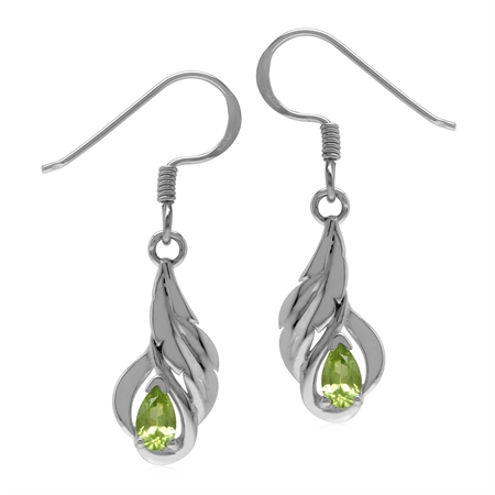 Petite Natural Peridot 925 Sterling Silver Leaf Dangle Hook Earrings