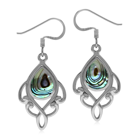 Abalone Paua Shell Inlay 925 Sterling Silver Victorian Inspired Dangle Drop Earrings