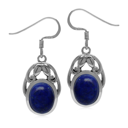 Natural Lapis Lazuli 925 Sterling Silver Victorian Leaf Inspired Dangle Earrings