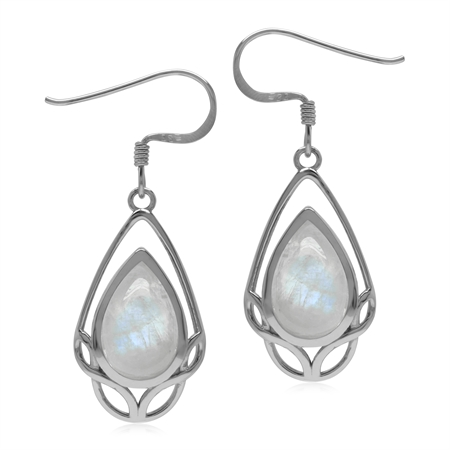 Natural Rainbow Moonstone 925 Sterling Silver Celtic Knot Weave Dangle Drop Earrings