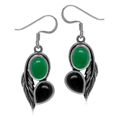 Genuine Green and Black Onyx 925 Sterling Silver Vintage Inpired Leaf Dangle Earrings